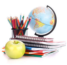 Notebooks, apple, pencils, and world globe