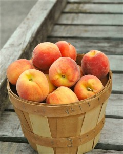 Peaches in a basket