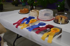 Cakes with prize ribbons from county fair.