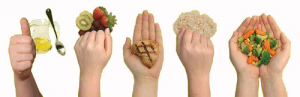 Hands showing the correct portions of food