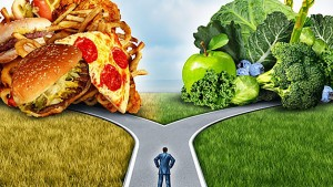 Path leading to health food or unhealthy food