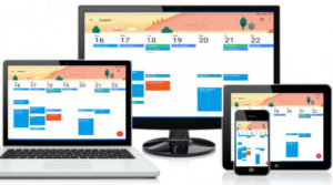 picture of cell phone, tablet, laptop, and desktop computer with same calendar on screen