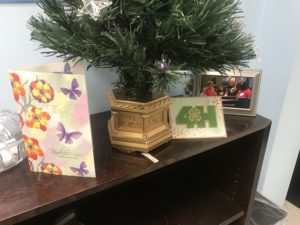 thank you cards underneath Christmas Tree