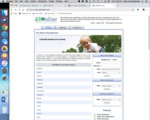 screenshot of 4-H online enrollment website homepage