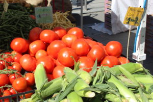 Tomatoes, corn, snap peas for sale