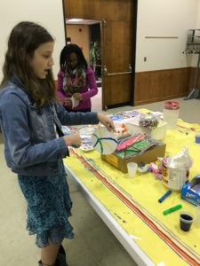 Two young girls working on STEM science projects