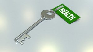 """Key with a tag saying """"health"""""""