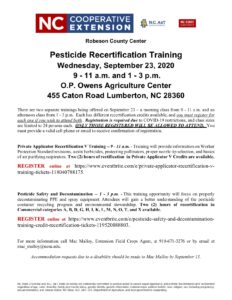 Event flier for pesticide trainings