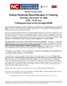 Pesticide Training Flier