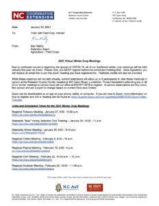 Memo listing 2021 Crop Meeting information