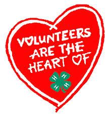 "Red Hearts with ""Volunteers are the heart of 4-H"" written inside"