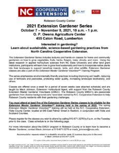 Flier for Extension Gardener Series
